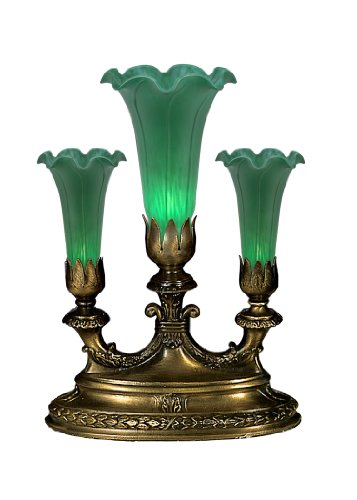 8.5 in. Pond Lily Mantelabra Accent Lamp (Green Lilies Stained Glass)