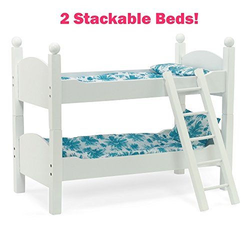 18 Inch Doll Furniture | 2 Single White Beds! - Stackable Bunk Bed, Includes 2 Sets of Vibrant Blue Quilted Bedding, Mattress & Ladder | Fits 18