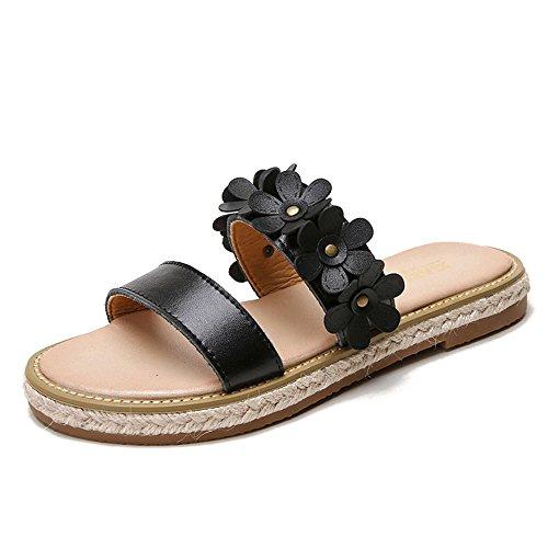 Chaussures ShangYi ShangYiSandales Plage Femme Deux Portent des Sandales et des Pantoufles Mot d'été Plat avec des Fleurs de Fleur à Bout Ouvert Bohême, Noir, EU41/UK7.5-8/CN42