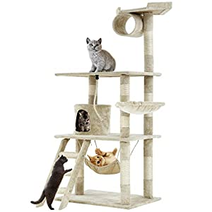 "Cat Tree Cat Condo Middle Size Natural Sisal Ultra-soft Plush Cat Tower Cat House With Scratching Post,64"" 66"