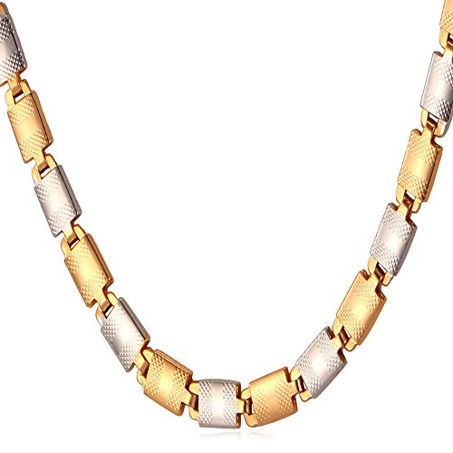 U7 Two Tone Gold Men Choker Necklace - 1