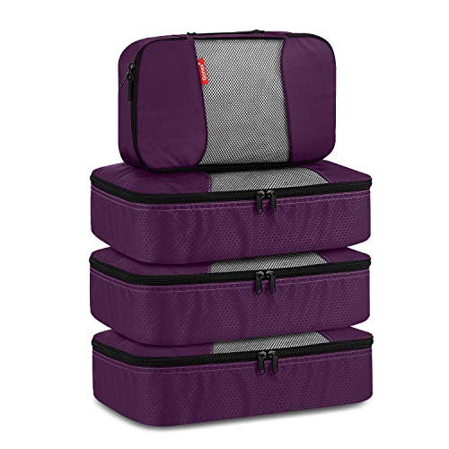 Travel Packing Cubes, Luggage Organizers 3 Medium+1 Small Purple