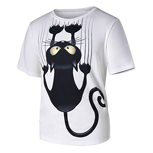 HGWXX7 Women&Men Couple Clothing Cat Print Short Sleeve White Top Blouse T-Shirt (M, White)