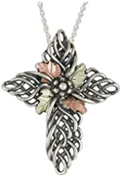 """Black Hills Gold on Sterling Silver with 12k Gold Leaves Cross Pendant Necklace Spiritual Religious Women's Jewelry FREE STERLING SILVER 18"""" CHAIN INCLUDED"""