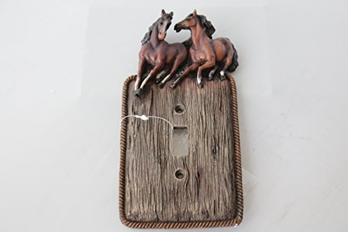 Western Running Horses Light Switch Rocker Plate Covers Electric Outlet Wood Look Rope Edge (single - Light Switch Horse Covers
