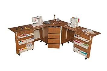 Cómodo 6 - Máquina de coser Overlock armario de almacenamiento acolchado patchwork Hobby Craft mesa M (Air-lifter to 10kg) Lakeland Acacia Light: Amazon.es: ...