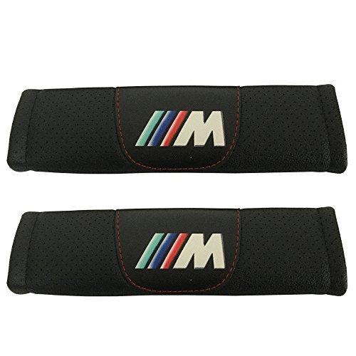 2pcs M Power Logo Black Leather Car Seat Safety Belt Strap Covers Shoulder Pad Accessories Fit For BMW 2-series BMW 3-series BMW 3-series Wagon BMW 4-series BMW 5-series BMW 6-series - Accessory Bmw Belt