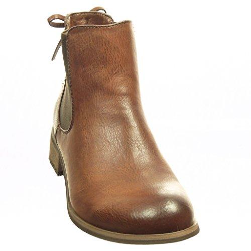 Angkorly - Scarpe da Moda Stivaletti - Scarponcini chelsea boots donna nodo lacci Tacco a blocco 3 CM - soletta Foderato di Pelliccia - Marrone