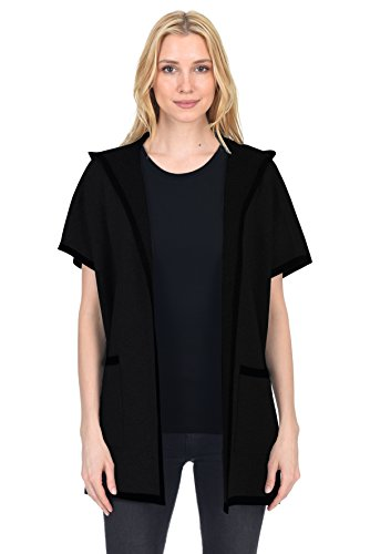 State Fusio Women's Wool Cashmere Short-Sleeved Hoodie Open Front Cardigan Coat With Pockets