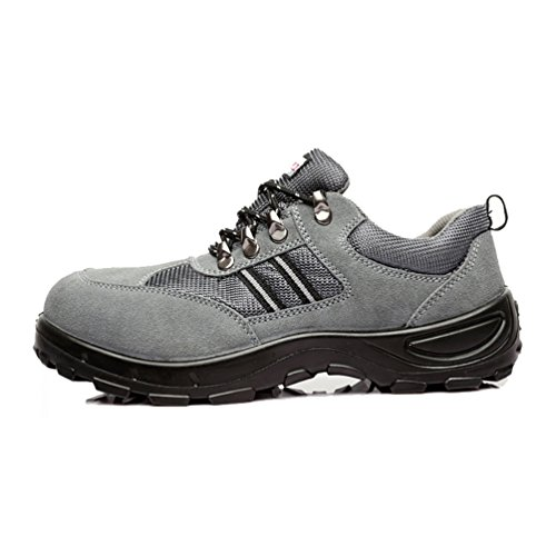 NiSeng Mens Comfortable Workwear Safety Shoes Anti-skid Comfy Safety Shoes Lace-Up Lightweight Sports Shoes Gray gqO1qSx