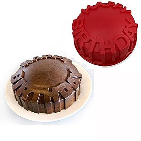 Feliz Cumpleaños Pastel Redondo Molde Pan Chocolate Hornear Bandeja Molde de Silicona