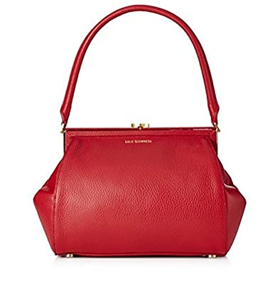 92eea3f4acc15 Lulu Guinness Annie Grainy Leather Framed Handbag - Red - Medium Size   Amazon.co.uk  Shoes   Bags