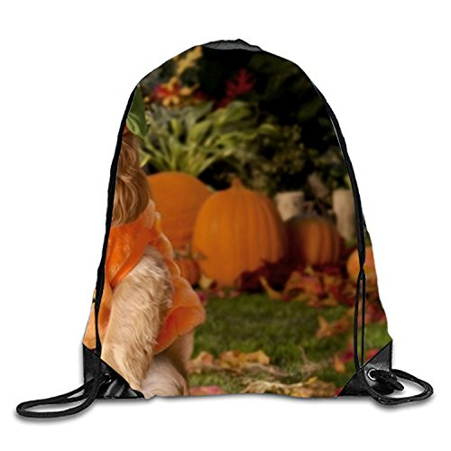 (Dog Dressed As A Pumpkin Drawstring Backpack Bag Men Women Sports Gym Sack Sackpack Yoga Dance Travel)