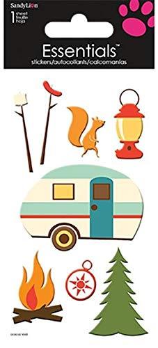 Sticker Scrapbooking Crafts Dimensional Happy Camper Retro Camping Fire Hot Dog