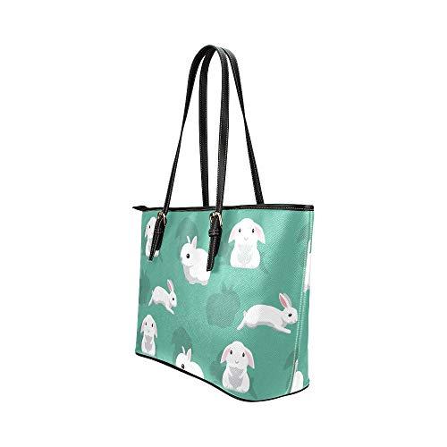 Dragkedja crossbody väska tecknad söt vit djur kanin läder handväskor väska orsaksala handväskor dragkedja axel organiserare för damer flickor kvinnor kvinnor crossbody väskor