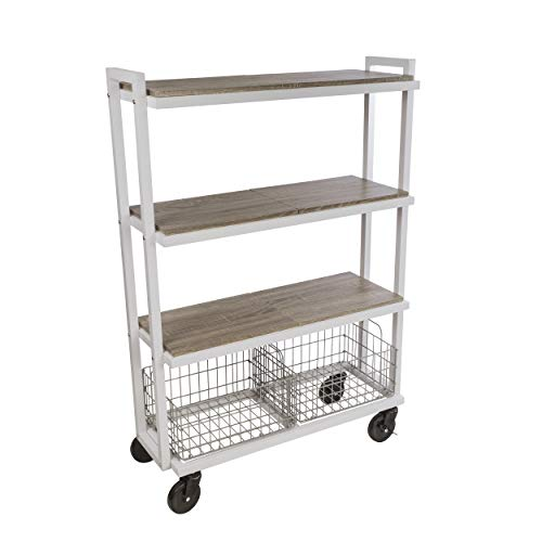 Atlantic Cart System 4 Tier Cart - Wide Mobile Storage, Interchange Shelves and Baskets, Powder-Coated Steel Frame PN23350331 in White Twister- 4 Tier/White from Atlantic