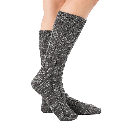 Women Slipper Crew Floor Cozy Socks House Cable Knit Leg Warmers Knee High Length for Winter