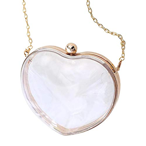 (Yocatech Women's Transparent Clear Purse Clutch Bag Evening Handbags Cross-Body Bag NFL Stadium Approved Acrylic,Chain Strap (White-Heart-shaped))