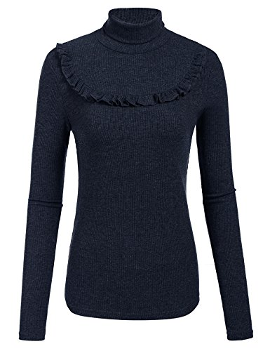 Plunge Damen Elegant Feinstrick-Pullover Pulli Rollkragen Strickpullover Basic Langarm Shirt Tops, Gr.-Medium, Blau