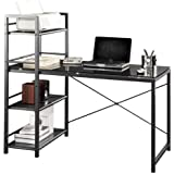 Contemporary Glass Top Computer Desk with 4-Shelf Bookcase - Black & Gray