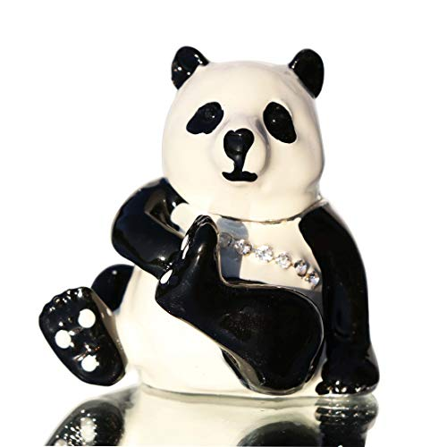 Panda Jewelry Box - Waltz&F Cute Panda Hinged Trinket Box Bejeweled Hand-Painted Ring Holder Animal Figurine Collectible
