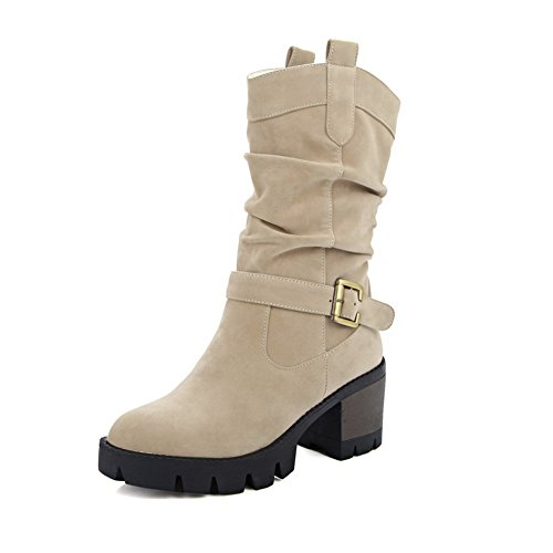 1TO9 Girls Chunky Heels Platform Buckle Frosted Boots