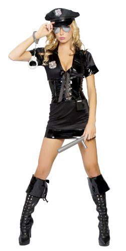Roma Costume 6 Piece Stop Traffic Cop Costume, Black, Medium/Large - Sexy Adult Detective Costumes