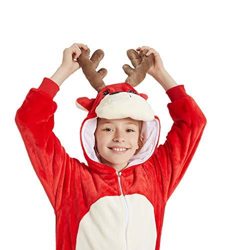 ANBOTA Girl Dog Animal Onesie Pajamas Kids Halloween Christmas Cosplay, Christmas Red Deer,