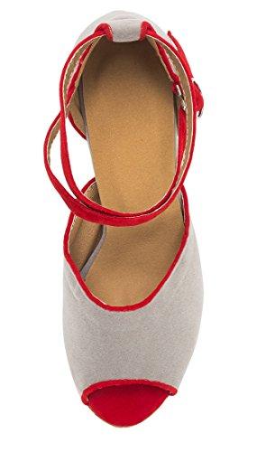 con Zapatos TDA Heel mujer tacón 5cm Grey 8 5Oq4pUwqx