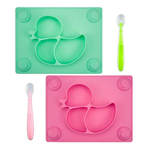 Mini Set Meal (Baby Placemat with Baby Spoons(2 Sets) - 2X Silicone Baby Plates with Suction Cups Plus 2X Silicone Infant Feeding Spoons for Toddlers,Kids and Children (Pink&Green))