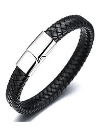 "Halukakah ""SOLO"" Men's Genuine Leather Bracelet Classic Titanium Magnetic Clasp 8.46""(21.5cm) with FREE Giftbox"