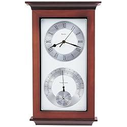 Bulova C3760 Yarmouth Weather Station Clock, Walnut & Mahogany