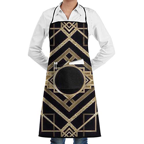 Yunilya Art Deco,Vintage, Era,The Great Gatsby,Gold,Black,Pattern,Elegant,Chic,Modern,Trendy Grill Aprons Kitchen Chef Bib Funny Aprons for Barbecue Grill Kitchen Gift Ideas -