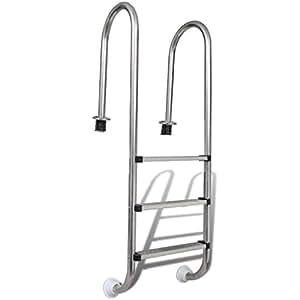 vidaXL Escalera de Acero Inoxidable para Piscinas Estándar de 3 Peldaños 120cm