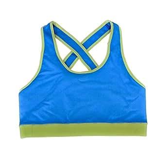 Str8 Cheer Women's Seamless Sleep Comfort Support Sports Bra Large Blue/Yellow