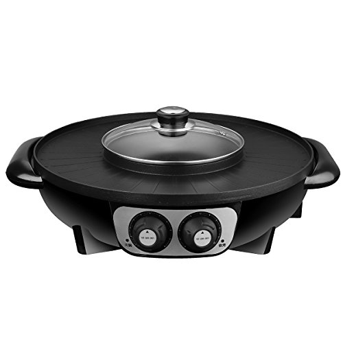 Pan 220v (Laliva Outdoor Picnic & BBQ - Tableware & Hardware - 2 in 1 1500W 220V 1.6L Electric Pan Shabu Suki Hot Pot BBQ Frying Cook Grill)