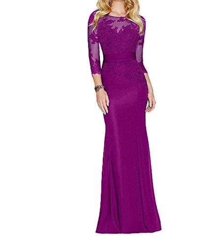 Spitze Elegant Etuikleider Abendkleider Partykleider Fuchsia Brautmutterkleider Festlichkleider Damen Charmant Langarm ZEnP5xFUq