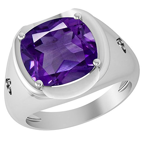 (5.96 Ct Purple Cushion Shape Amethyst And Diamond 925 Sterling Silver Engagement Ring For Women: Nickel Free Beautiful And Stylish Birthday Gift For Mother : Birthstone Month-February : Ring Size-4.5)