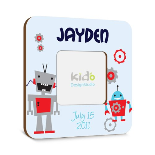 Robots Baby Boy Photo Frame, Blue Picture Frame with Birth Information for Kids Bedroom, Nursery Wall Hanging, Personalized Boys Gift