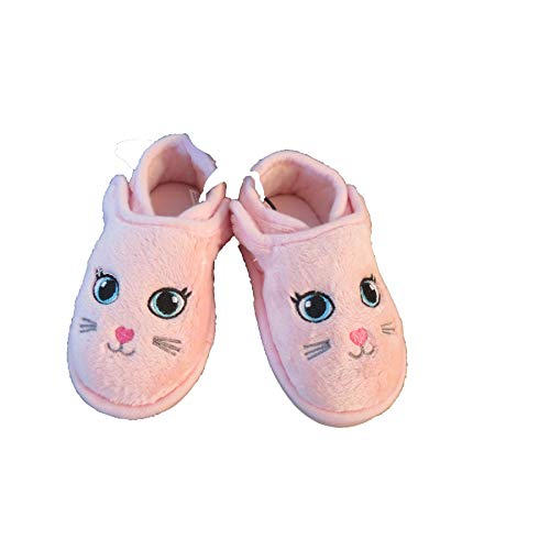 Pink Bunny Slippers Toddler Girls - Rubber Sole Slip-On House Slippers (Toddler 5-6)