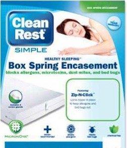 Clean Rest Simple Bed Bug & Allergen Blocking Box Spring Encasement Featuring Zip-N-Click - Queen