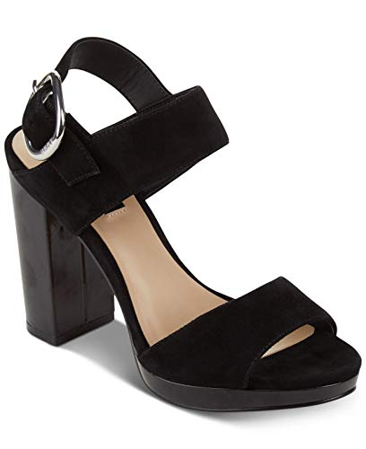 DKNY Womens Bell Leather Open Toe Casual Slingback Sandals, Black, Size -