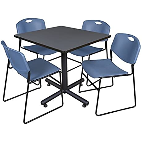Regency Kobe 42 Inch Square Breakroom Table Grey And 4 Zeng Stack Chairs Blue