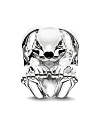 EVESCITY Crystallized Cute Bunny Rabbit Silver Bead for Charms Bracelets - Best Jewelry Gifts for Her Animal Lovers