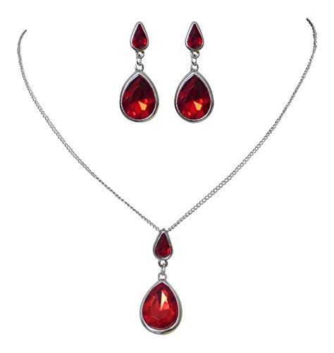 Trachtenschmuck Dirndl Collier Set - Kette & Ohrringe - antikstil - schwarz oder rot (Rot)