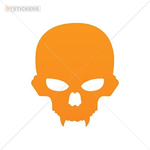 Decal Stickers Scary Skull Motorbike Boat (7 X 5,89 In. ) Orange