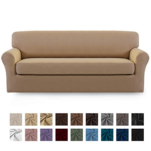 Easy-Going 2 Pieces Microfiber Stretch Sofa Slipcover - Spandex Soft Fitted Sofa Couch Cover, Washable Furniture Protector with Elastic Bottom Kids,Pet (Sofa,Camel) (Set Cushion Sofa)