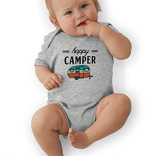 Happy Camper Camping Outdoor Onesie Newborn Baby Boys Girls Short Sleeve Bodysuit Romper (Grey, 6 Months)