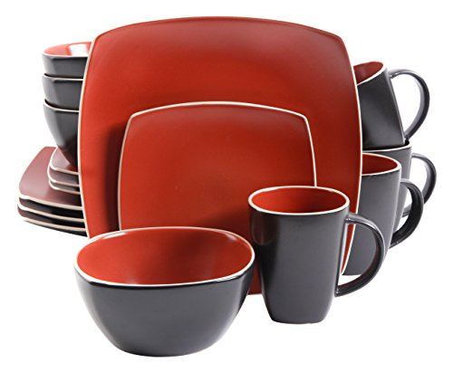 Gibson Home 102265.16RM Soho Lounge Matte 16 Piece Dinnerware Set, Brick