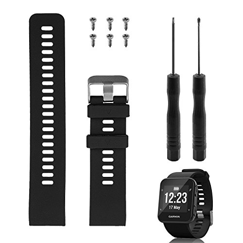 Band Replacement for Garmin Forerunner 35, Rukoy Soft Silicone Replacement Watch Band Strap for Garmin Forerunner 35 Smart Watch, Fit 5.56″-9.96″ (139mm-199mm) Wrist (Black) For Sale